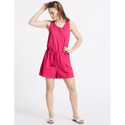 Pure Cotton Applique Playsuit very pink