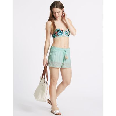 Drawstring Embroidered Shorts mint mix