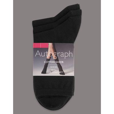 3 Pair Pack Cotton Rich Ankle High Socks black