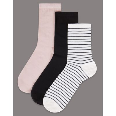 3 Pair Pack Cotton Sheer Ankle High Socks black mix