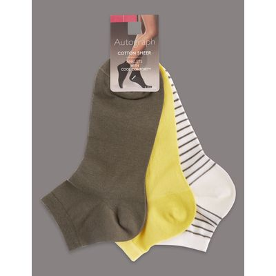 3 Pair Pack Cotton Sheer Ankle Socks lime mix