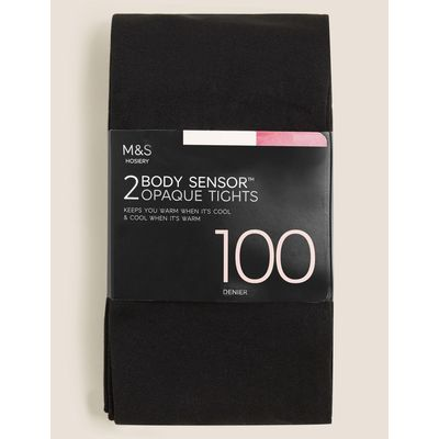 2 Pair Pack 100 Denier Body Sensor™ Opaque Tights black