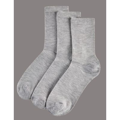 3 Pair Pack Modal Rich Ankle High Socks grey