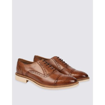 Leather Contrast Sole Brogue Shoes tan