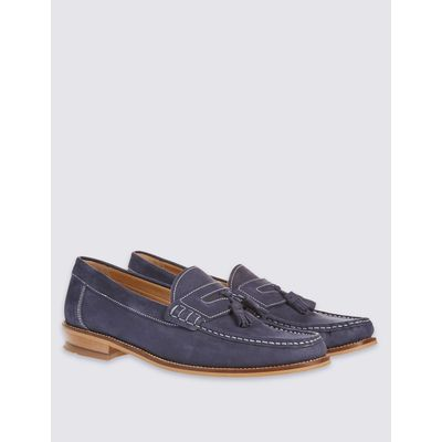 Leather Nubuck Tassel Slip-on Loafers navy