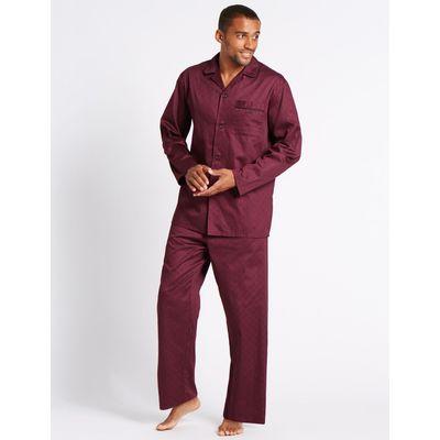 Pure Cotton Ditsy Print Pyjamas wine