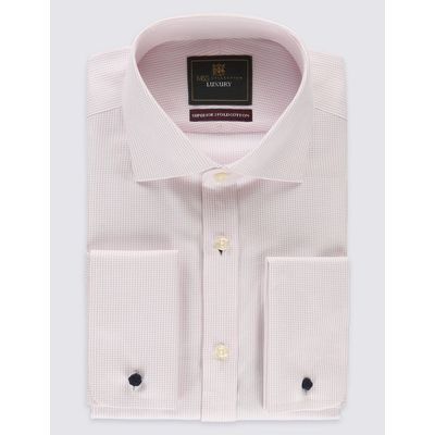 Pure Cotton Non-Iron Tailored Fit Shirt pale pink mix