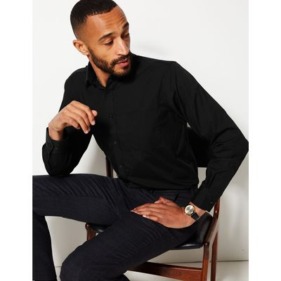 Easy to Iron Shirt with Pocket black