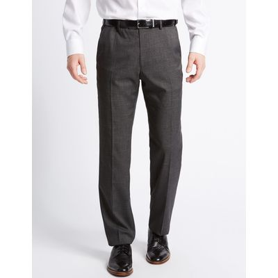 Tailored Fit Textured Flat Front Trousers charcoal mix