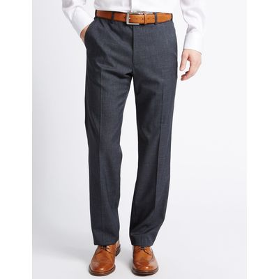 Tailored Fit Textured Flat Front Trousers indigo