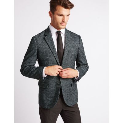 Wool Blend Knitted Check Jacket charcoal