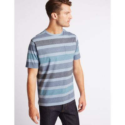 Pure Cotton Striped Crew Neck T-Shirt ice blue