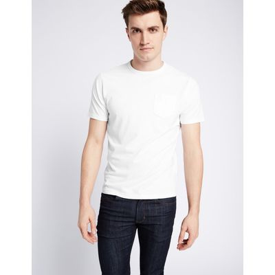 Slim Fit Pure Cotton Crew Neck T-Shirt white
