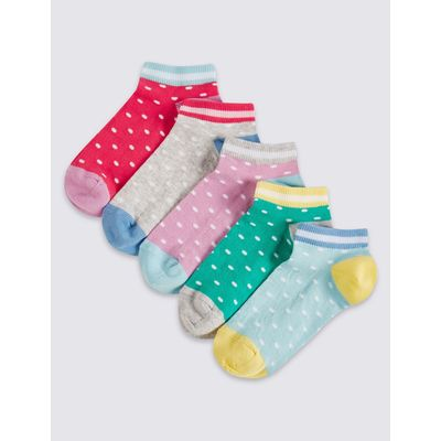 5 Pairs of Trainer Liner Socks (3-14 Years) multi/brights