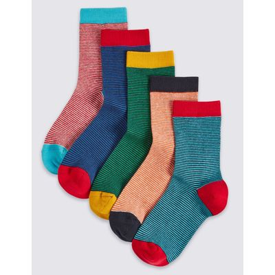 5 Pairs of Cotton Rich Striped Socks (1-14 Years) red mix