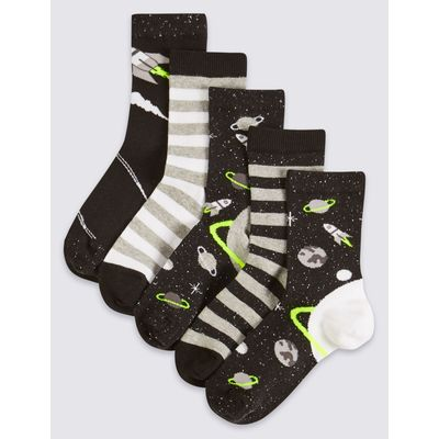 5 Pairs of Freshfeet™ Cotton Rich Socks (1-14 Years) black mix