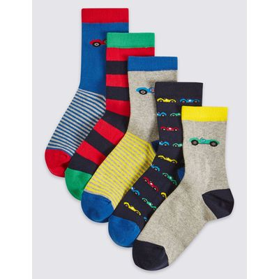 5 Pairs of Freshfeet™ Cotton Rich Socks (1-14 Years) blue mix