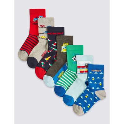 7 Pairs of Cotton Rich Socks (1-6 Years) multi