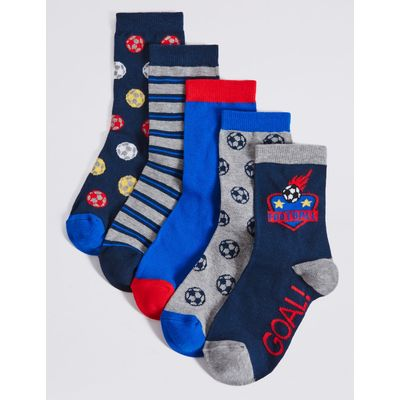 5 Pairs of Cotton Rich Freshfeet™ Socks (1-14 Years) blue mix