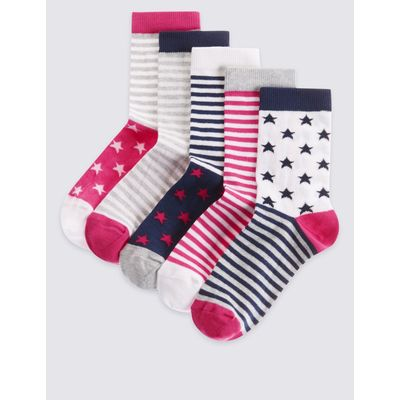 5 Pairs of Cotton Rich Socks with Freshfeet™ (12 Months - 14 Years) pink mix