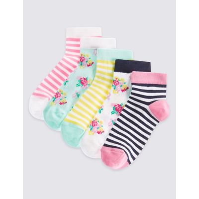 5 Pairs of Cotton Rich Socks with Freshfeet™ (12 Months - 14 Years) multi