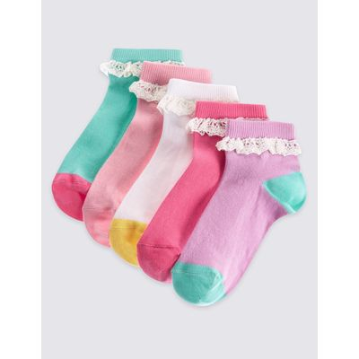5 Pairs of Cotton Rich Socks with Freshfeet™ (12 Months - 14 Years) white mix