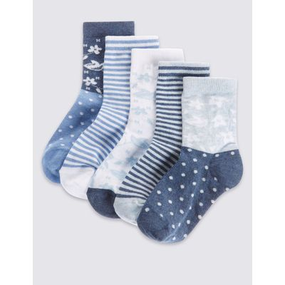 5 Pairs of Cotton Rich Socks with Freshfeet™ (12 Months - 14 Years) china blue