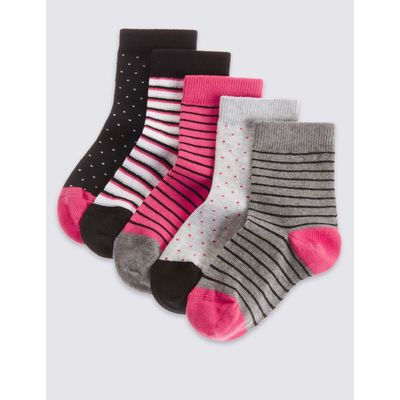 5 Pairs of Cotton Rich Socks with Freshfeet™ (3-14 Years) black mix