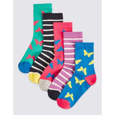 5 Pairs of Cotton Rich Socks (1-14 Years) pink mix