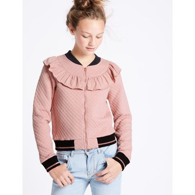Cotton Rich Bomber Jacket (3-14 Years) antique rose