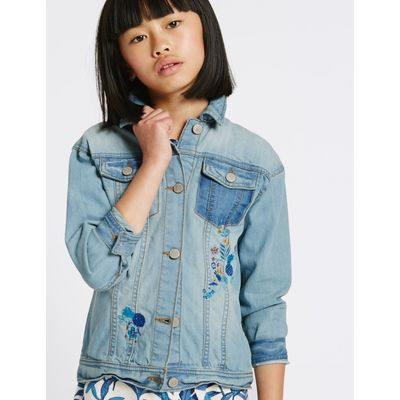 Embroidered Denim Jacket (3-14 Years) med blue denim