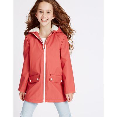 Fisherman Hooded Coat (3-16 Years) dark red