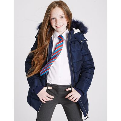 Faux Fur Padded Coat (3-16 Years) navy