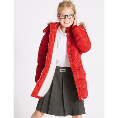 Longline Padded Coat (3-16 Years) red