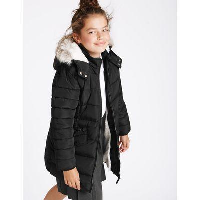 Faux Fur Zip Through Padded Coat (3-16 Years) black