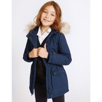 Pure Cotton Faux Fur Parka (3-16 Years) navy