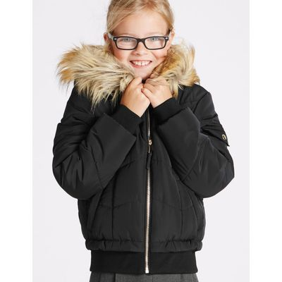 Faux Fur Zipped Through Jacket (3-16 Years) black