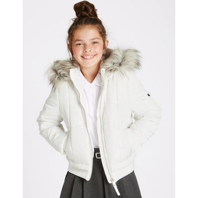 Faux Fur Zip Through Neck Jacket (3-16 Years) soft white