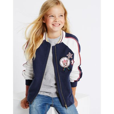 Pure Cotton Bomber Jacket (3-14 Years) navy mix