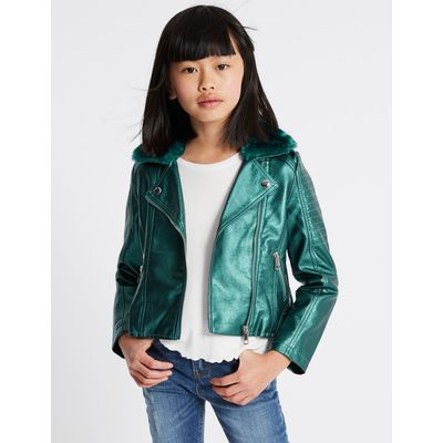 Faux Fur Zipped Through Jacket (3-14 Years) green