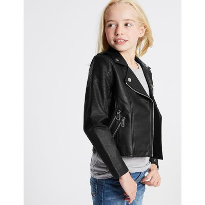 Fux Leather Zipped Through Biker Jacket (3-14 Years) black