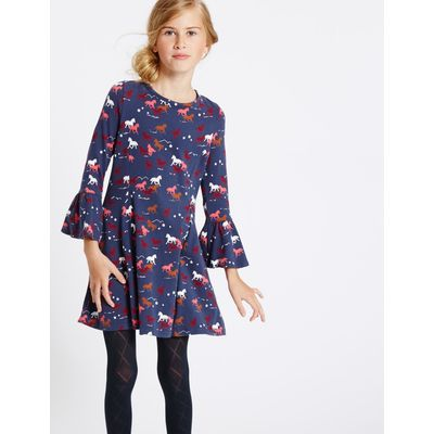 Cotton Dress with Stretch (3-14 Years) navy mix