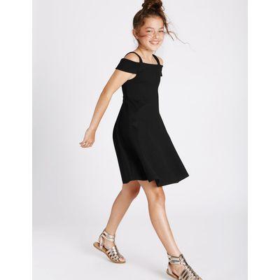 Cold Shoulder Ponte Dress (3-14 Years) black