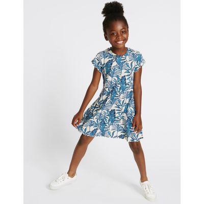 Printed Jersey Dress (3-14 Years) blue mix