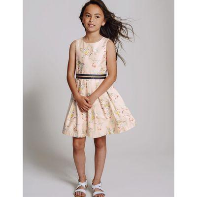 Pure Cotton Bird Print Prom Dress (3-14 Years) pale pink