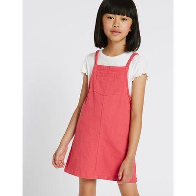 Denim Pinny Dress (3-14 Years) dark red