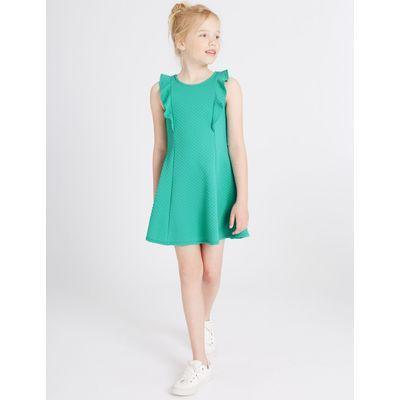Frill Textured Dress (3-14 Years) jade