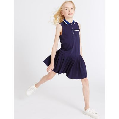 Pure Cotton Collared Neck Dress (3-14 Years) navy