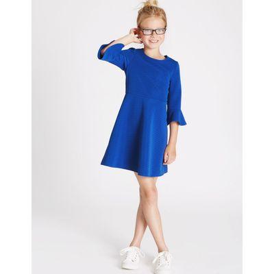 Frill Sleeve Ponte Dress (3-14 Years) bright blue