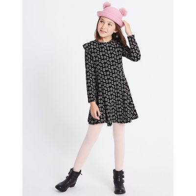 Printed Cotton Rich Dress with Stretch (3-14 Years) black mix